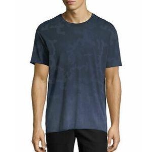 😎 ATM} Men's Blue Camo Raw Hem Shirt